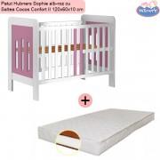 Pachet Patut Hubners Sophie alb-roz cu Saltea Cocos Confort II 120x60x10 cm
