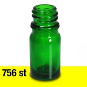 Glasflaska 5 ml grön Stor låda 756 st med 18 mm gänga