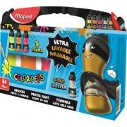 Tempera, palackos, 5x75 ml, ultra-washable, MAPED, fluoreszkáló + metál színek (IMA810012)