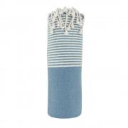 Les Poulettes Bijoux Fouta Drap Plage et Hammam Coton Nid d'Abeille Bleu Indigo Petites Rayures Lurex Argent 100 x 200cm
