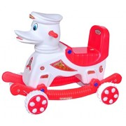 Pihu Enterprises 2 in 1 Rocker cum Roller Musical baby Duck Master Rider Red & White