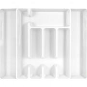 Merkloos Uitschuifbare besteklade bak kunststof wit 44 cm