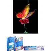 Crafterman™ Diamond Painting Pakket Volwassenen - volledige bedekking - hobby pakket - Prachtige vlinder op bloem - 30x40cm - Met tijdelijk E-Book