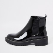 River Island Womens Black chunky patent boot (6)