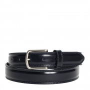Made In Italy Cintura Uomo in Pelle di Vitello Spazzolato Blu 3,5cm