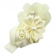 ELENXS del pelo del bebé niña de las flores Banda Perla Headwear para 3-36 Meses elástico magnífico suave práctica recién nacido Blanca