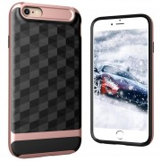 Louiwill Estuche KOBWA Para IPhone 6 Plus, Estuche Para IPhone 6S Plus, 2 En 1 Estuche Para IPhone 4 Soft 3D Rhombus TPU + PC, Estuche Antideslizante Antideslizante Para Cuerpo Entero Y Antideslizante Para Apple IPhone 6 Plus / 6S Plus - Oro Rosa