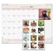 Puppies Monthly Desk Pad Calendar, 22 X 17, 2017