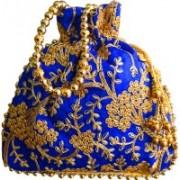 AyA Fashion Designer Royal Ethnic Clutch Silk Potli Batwa Bag with Beads Work|Hand embrodired Design|Rajasthani Potli(Blue)