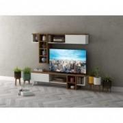 Comoda Tv din pal cu dulap suspendat Fiona Homs Alb/Nuc 140 X 34.2 X 30 141 X 71.8 X 20.9 CM