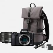 Canon EOS M50 noir + EF-M 15-45mm IS STM + sac à dos + carte SD + batterie de rechange