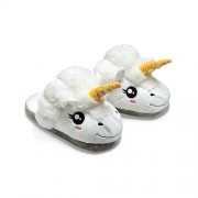 Xiaoying XY Funny Cartoon Cotton Warm Soft Bottom Plush Unicorn Sheep Slippers, White