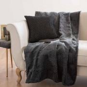 Maisons du monde Coperta in tessuto grigia antracite a motivi, 150x200