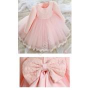 Lejdi Słodka różowa sukieneczka z koronkową kwiatową górą sukienki dla dziewczynek