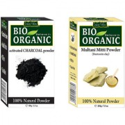 Indus valley Bio Organic Activated Charcoal + Multani Mitti Powder Combo-Set of 2