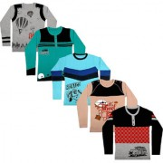 tirupur fashion biz Boys Fullsleeve T-Shirts 100% BIO-Washed Cotton Stretchable Printed (5 - Pcs)