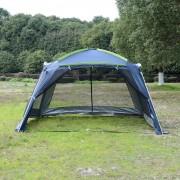 Outsunny Carpa tipo Avancé Plegable para Camping - Azul Oscuro - Tela Oxford 210D - 360x355x215cm