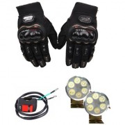 Autosky Combo of 6 Led Fog Light (Set Of 2) For All Bikes With On Off Switch And Full Finger Protective Gloves