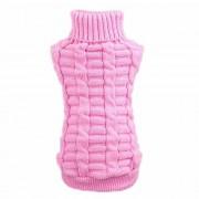 Toogoo Pet Clothing Canamo Flowers High Collar Winter Wool Sweater (Pink, XL)