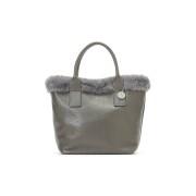 【50%OFF】DOLLARO/PEL. ECO レザー ファートリムデザイン バッグ グレー 旅行用品 > その他
