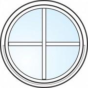 Dörrtema Fönster 2-glas energi argon rund vitmålat spröjsad Modul diameter 8