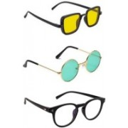 SO SHADES OF STYLE Round, Rectangular, Retro Square Sunglasses(Yellow, Green, Clear)