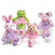 Set Of 4 Adorable Ballerina Plush Animals Including Rabbit, Frog, Elephant And Bear