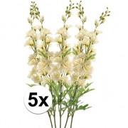 Bellatio flowers & plants 5x Witte Ridderspoor kunstbloemen tak 70 cm