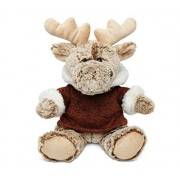 "Puzzled Sitting Moose With Brown Hooded Sweater Super Soft Stuffed Plush Cuddly Animal Toy Wild Animals Collection 9"" Inch Unique Huggable Loveable New Friend Gift Item #5061"