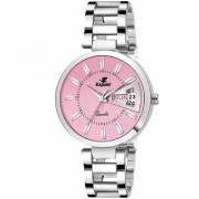 Espoir Analog Stainless Steel Day and Date Pink Dial Girl's and Women's Watch - PinkDDManisha