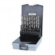 Set 19 burghie Ruko DIN 338 tip N, HSS-G Ø 1.0 - 10.0 mm, cutie din plastic