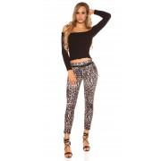 Pantaloni sexy Koucla Leopard cu curea