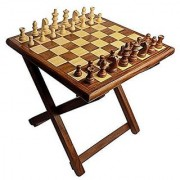 Kesha Spree Premium Quality Handmade Wooden Table Chess - Foldable with Storage Box (12 Inch) in Multicolor- Tournament