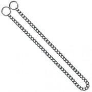 KH Hundhalsband strypkedja, platta länkar, förkromat stål, 2.0mm x 65cm
