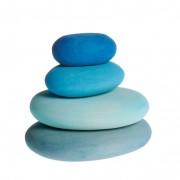 Houten stapelstenen, 4-delige set, blauwe tinten