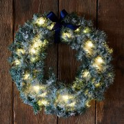LED wreath Anton with timer, green