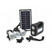 Sistem Iluminare LED cu Incarcare Solara, 3 Becuri LED si Lampa Portabila GD-8017