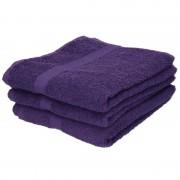 Towelcity 3x Luxe handdoeken paars 50 x 90 cm 550 grams