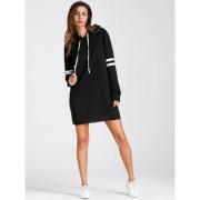 Fabrange Black Hooded Winter Stretchable Sweatshirt For Women