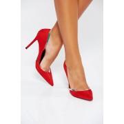Piros elegáns műbőr cipő fémes kiegészítő