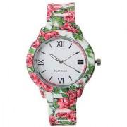 Varni Retail White Floral Print Dial With Printed Strap Girls Wrist Watch For Women WhiteFloralMarbelWomenVR