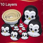 10 PCS Cute Penguin Lovely Animal Nesting Dolls Matryoshka Doll Russian Doll Set 10 Pieces Wooden Handmade Kids Girls Toy Christmas Gifts Home Decoration Perfect Mother's Day Gift (Penguin)