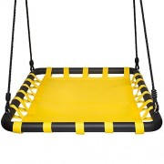 SWINGING MONKEY PRODUCTS Giant Mat Platform Swing, Yellow - 40in L x 30in W, Tree Swing, Heavy Duty Materials, Room for Multiple Children