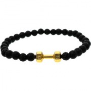 BeBold Gold Dumbbell Black Lava Stone Fashion Bead Matt Bracelet for Men Boys