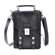 Sale Funda Women Evening/Party, Casual, Formal, Festive Black Genuine Leather Sling Bag