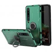 Drop-proof Kickstand Metal Silicone Combo Case for Xiaomi Mi 10 - Green