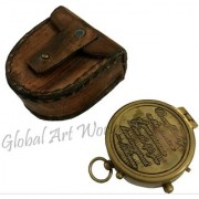 Global Art World Antique Navigational Old Thoreau's Go Confidently Quote Engraved Pocket Map Compass With Stamped Leather Case SC 098
