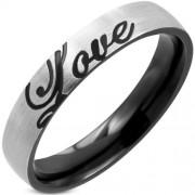 Ezüst és fekete színű nemesacél gyűrű, LOVE felirattal-9