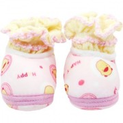 Neska Moda Baby Boys and Girls Soft Baby Pink Cotton Fur Booties For 0 To 12 Month BT99
