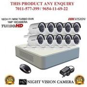 HIKVISION 2 MP 16CH DS-7116HQHI-F1 MINI Turbo HD 720P DVR + HIKVISION DS-2CE16DOT-IR TURBO BULLET CAMERA 10pcs CCTV COMBO